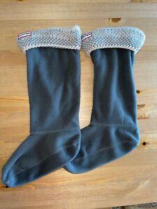 Hunter Womens Crochet Top Boot Socks One Size Gray