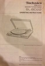 Technics model SL-BD22 Turntable Operating instructions and setup guide
