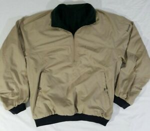 Foot Joy Jacket 1/2 Zip Reversible Beige Green Fleece Shell Golf Pullover Mens M