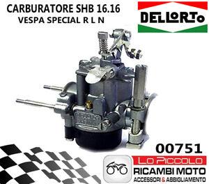 00751 CARBURATORE DELLORTO SHB 16 16 PER VESPA 50 SPECIAL R L N