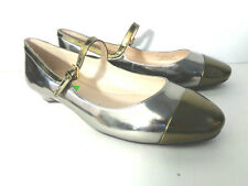 COLE HAAN grand.os 7.5M Silver & Gold Patent leather Ballet Flats Mary Jane