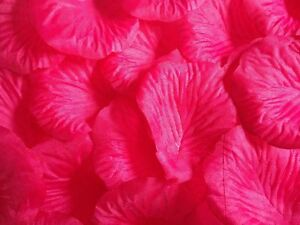 1000 x HOT PINK SILK ROSE PETALS WEDDING CONFETTI TABLE DECORATION UK SELLER