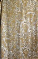 Vintage Net Lace Curtain Drapery Panel Safari Lined 52 x 64 Zebra Tiger Elephant