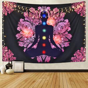Chakra Buddha Wall Tapestry Indian Yoga Wall Hanging Artwork Tapestry Home Decor