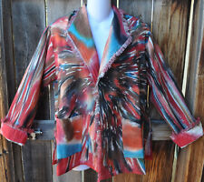DILEMMA ARTIST HAND PAINTED AND WOVEN ART TO WEAR SHORT COTTON FRINGE JACKET,OS!