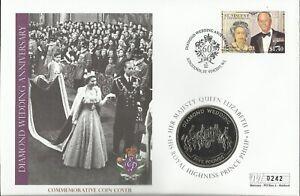 ST VINCENT 2007 QE11 DIAMOND WEDDING ANNIVERSARY FIVE POUNDS COIN COVER 0242
