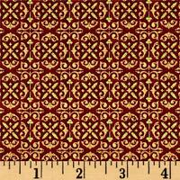 Tis The Season Foulard Red Christmas 100% cotton fabric by the yard