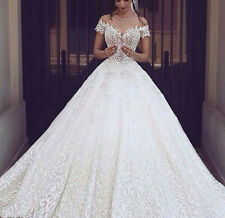 Ladies Luxury White/ivory Wedding dress Bridal Gown custom size Applique Dress