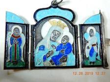 Antique 1884 Russian Rare Miniature enamel silver triptych travel icon Madonna
