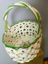 Hand Painted Ceramic Basket Portugal Flowers on the Inside