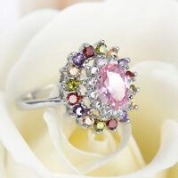 Flower Shaped Multi Pink Topaz Amethyst Garnet Gemstone Silver Ring Size 6-10