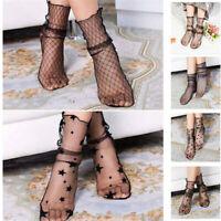 Fashion Women Ruffle Fishnet Ankle High Socks Mesh Lace Fish Net Short Bow Socks