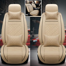 2PCS Auto Car Seats Covers Cushions For Front PU Leather w/ Pillows Size M Beige