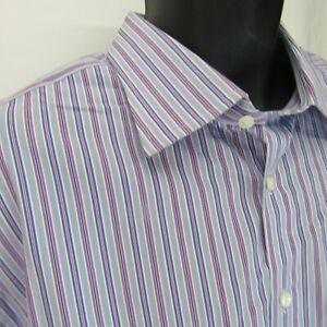 Thomas Pink Striped Dress Shirt Men's Size 18 - 35.5 46/90cm Purple Lavender