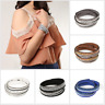 crystal Leather Women's Bracelet Cuff Strap Multi Layer Hand Made Tribal Fashion