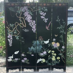 Oriental Asian 4 Panel Room Divider/ Screen.Double Sided. 4x6 Lacquer.