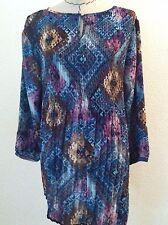 Avenue 2X 3X woman plus shirt blouse turquoise purple geometric keyhole size