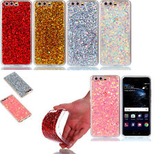 Glitter Bling Acrylic Soft TPU Frame Phone Back Case Cover For Huawei LG Xiaomi