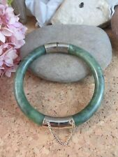 Beautiful Estate Antique Green Jade Sterling Silver Hinged Bangle Bracelet  #251
