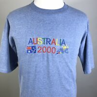 VTG AUSTRALIA 2000 EMBROIDERED OLYMPICS TOURIST BLUE SINGLE STITCH T SHIRT 2XL