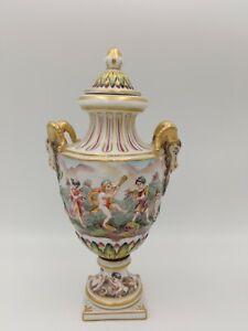 Antique Capodimonte Italian Baroque Porcelain Hand Painted Lidded Urn