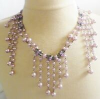 collier rétro couleur argent rhodié plastron perles de verre lavande strass B1