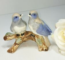 Ceramic Pair of Pretty Blue/Beige/Grey/White Birds on a Branch - Perfect Order
