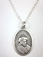"""St Thomas More Medal Italy Pendant Necklace 20"""" Chain Gift Box & Prayer Card"""
