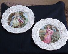 Pair of Bone China, Longport, England Wall / Cabinet Plates Romantic Victorian