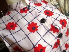 Xs 00 True Vtg 70s Ultra Thin Sears Frock Top Ultra Thin Red Flower Print Dress