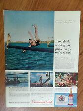 1960 Canadian Club Whiskey Ad Pole-Walking in Caribean
