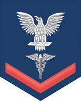 """Hospital Corpsman HM Rate E-4 Red Die Cut 5.5"""" Sticker / Decal"""