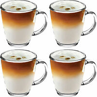 4x 350ml Clear Glass New Mugs Tea Coffee Mocha Hot Chocolate Latte Cappucino Cup