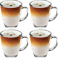 4x 350ML VETRO CHIARO NUOVO TAZZE Tè Caffè Mocha HOT CIOCCOLATO LATTE CAPPUCINO COPPA