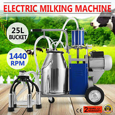 Electric Milking Machine For Farm Cows Sheep W/Bucket 25L 304 Stainless Steel