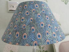 Handmade Lampshade Coolie 40cm Blue Peacock feather cotton fabric