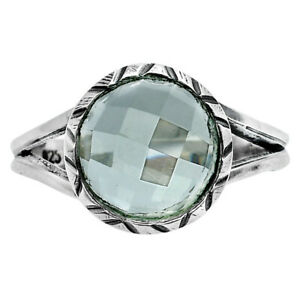 Faceted Prasiolite (Green Amethyst) 925 Sterling Silver Ring s.7.5 Jewelry E815