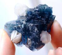 New Find Transparent Blue FLUORITE & Calcite CLUSTER MINERAL SPECIMEN 31.70g