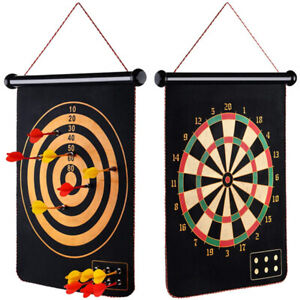 Magnetic Roll-Up Double Sided Hanging Dart Board Set with 6 Darts for Kids