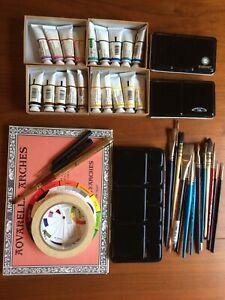 Winsor & Newton watercolor lot tubes half pans metal palettes travel kit brushes