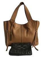 VINCE CAMUTO Cory Large Leather Tote Handbag Purse w/Dust Bag, Light Oak NWT$278