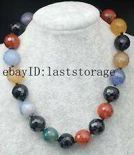 """wholesale multicolor agate faceted round 18mm necklace 18"""" nature beads amazing"""