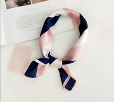 Women Elegant Square Silk Feel Scarf Small Vintage Head-Neck Hair Tie Band