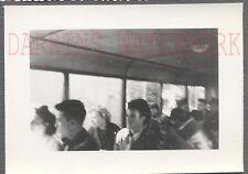 Unusual Vintage Photo Men & Women Passengers in Bus Interior 740818
