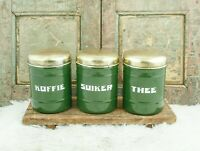 Vintage CANISTER SET Enamelware Coffee Sugar Tea Darkgreen Enamel Jars