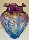 Vintage Huge Fenton Hand Painted Wisteria and Butterfly Mulberry Vase #170/1750