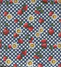 VINTAGE STRAWBERRIES CHERRIES DAISIES BLUE WHITE CHECK FABRIC SPRINGS IND-QUILT