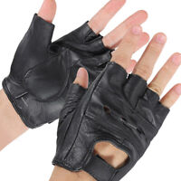 Leather Bike Cycling Motorcycle Racing Fitness Sports Gloves Half Finger Black M
