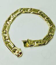 "Bar Link Mens Bracelet 7"" 27gr 10.5Mm 10k Solid Yellow Gold Handmade Tiger Eye"