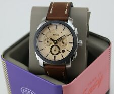 NEW AUTHENTIC FOSSIL MACHINE CHRONOGRAPH SILVER BROWN LEATHER MEN'S FS5620 WATCH